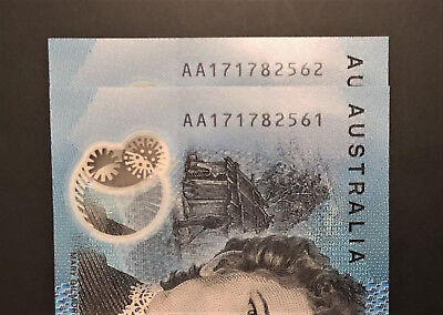 Consecutive Pair ** AA17 ** FIRST PREFIX ** 2017 NEW $10 notes ** UNC!! Lot 2