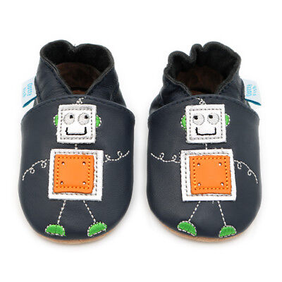 Dotty Fish Soft Leather Baby & Toddler Shoes - Robot - 0-6 Months - 3-4 Years