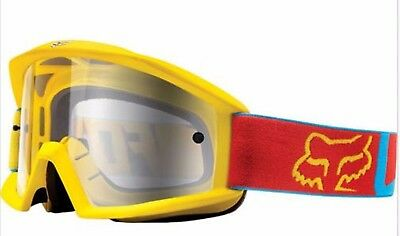 FOX MOTOCROSS GOGGLES NEW Yellow/blue/red Motorcross Dirt bike Off road Vandal