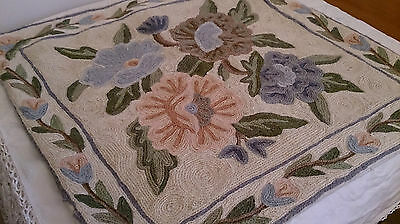 ANTIQUE Handmade Wool Rug Hooking Embroidery Flowers Design Picture Unframed