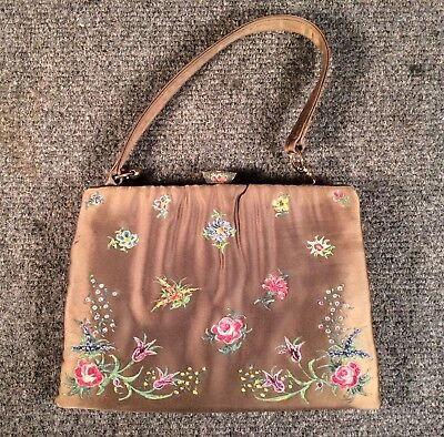 WALDYBAG HANDPAINTED ENGLAND floral flowers micro caviar beaded silk hand bag