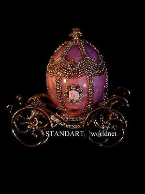 Russian Imperial Princess Pink Carriage & inner ruby red Egg Pendant Necklace