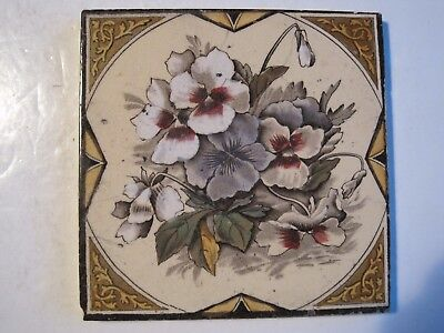 ANTIQUE VICTORIAN PRINT AND TINT WALL TILE - PANSIES C1890  PATTERN No.2006