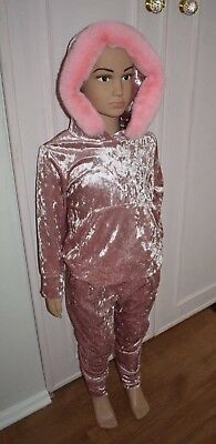 Girls Crushed Velour Velvet Lounge Suit Tracksuit 2 piece set Hoddy 4-14 Years