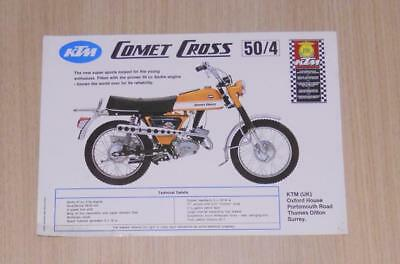 KTM COMET CROSS 50/4 Motorcycle Sales Specification Sheet
