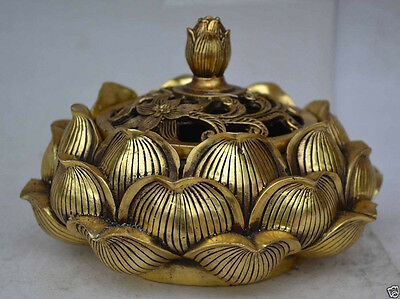 Chinese collectable statue lotus copper Incense burner NER022
