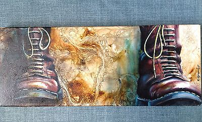 ORIGINAL Acrylic on Box Canvas SKINHEAD Dr Martens Cherry Red painting SIGNED