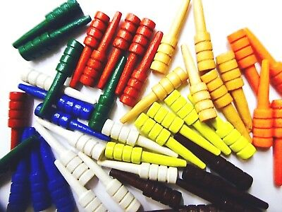 6 Painted Wood Cribbage pegs SECONDS scoring pegs game pieces MULTI-BUY DISCOUNT