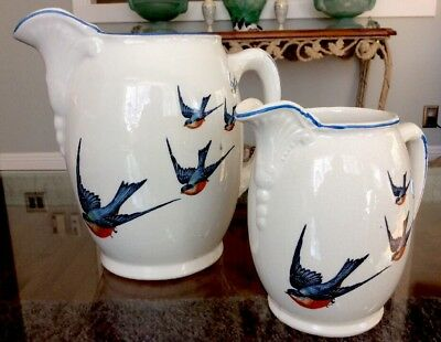 "RARE Set 1920's Buffalo Pottery Bluebird Of Happiness Pitchers 5"" & 7"" XLNT HTF"