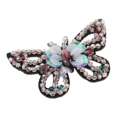 3D Butterfly Applique Bead Crystal Embroidery Patch for Clothing Decor Pink