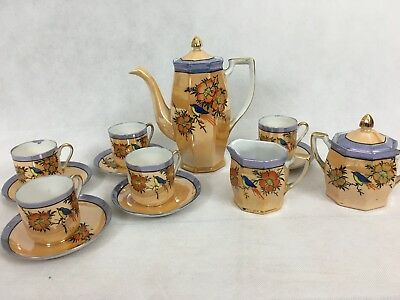 Vintage Japanese Hand Painted Klimax Coffee Set With Painted Birds