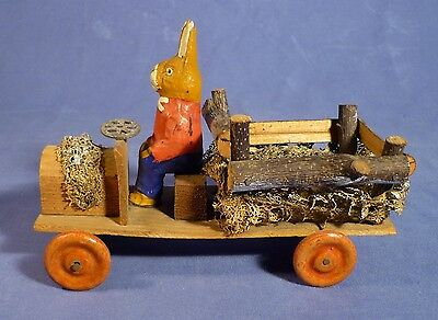 Alter Osterhase Auto Lkw Figur Erzgebirge Hase 30's Rabbit Candy Container A175