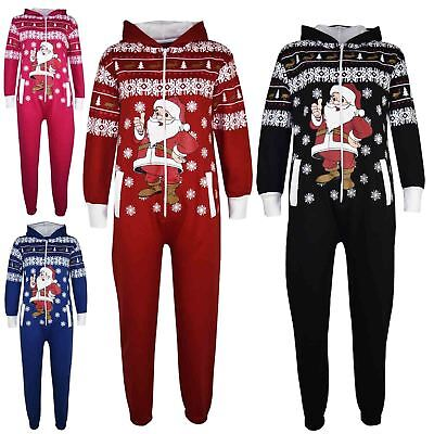 Kids Girls Boys Novelty Christmas Santa Fleece A2Z Onesie One Piece Jumpsuit5-13
