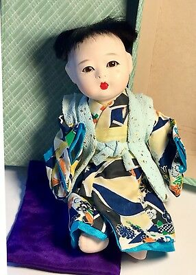 """Vintage 7"""" Porcelain Head Chinese Dressed Doll - Great Detail in Box"""