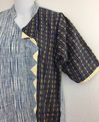 Indira International Shirt Dress Mens Kurta India Ethnic Cotton Stripe Blue M/L