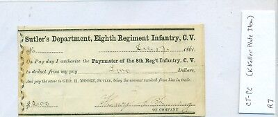 Sutler Payment Authorization 8th Regiment Infantry, CT Volunteers (CT-PC) R7