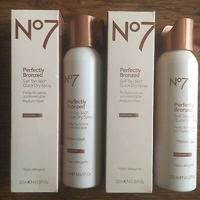 No7 Perfectly Bronzed Self Tan Quick Dry Medium/Dark 2x 125ml