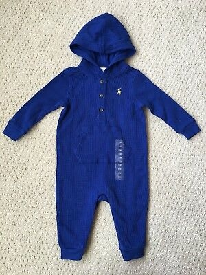 NWT Ralph Lauren Boy's Royal Blue Hooded Thermal Romper Coverall - Sz. 6M