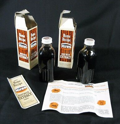 Hires Root Beer Home Recipe Extract 2 Bottles w boxes VINTAGE PRODUCT DRIED UP