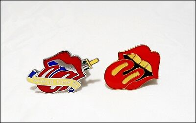 Rolling Stones Lot Of 2 Pins Badges 1982 Tattoo You US Tour / Enamel Tongue Pin