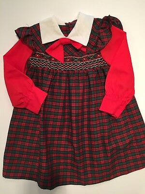 Vintage Girls Red Green Christmas Plaid Smocked Pinafore Dress 1970s Apron Dress