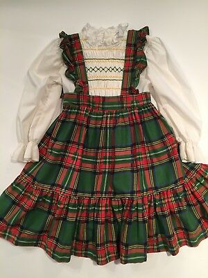 Vintage 1970's Polly Flinders Smocked Apron Dress Christmas Holiday Plaid size 5