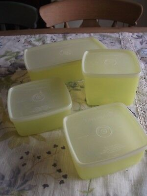 4 x Tupperware Vintage Tupperware Yellow Containers.