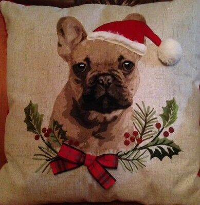 PUG dog Christmas Holiday Throw Pillow HTF ONLY 1 ON  EBAY! GREAT GIFT