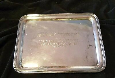 NY State Fair Draft Horse Club Trophy Antique Silver Tray 1919