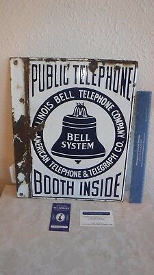 Antique 1900's Porcelain ILLINOIS Bell Public Telephone Booth Inside 2 Side Sign