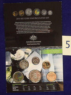 Royal Australian Mint 2013 6 coin uncirculated Year Set color printed 20c coin