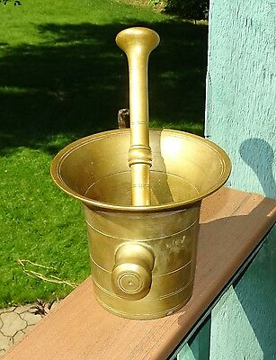 Large 13 Pound Antique 19th Century Apothecary Solid Brass Mortar & Pestle
