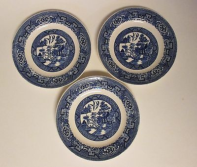 """Set of 3 Vintage Homer Laughlin Blue Willow Bread Butter Plates 6 3/8"""""""