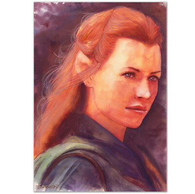 """ORIGINAL AQUARELL """"Things can change"""" WATERCOLOR EVANGELINE LILLY TAURIEL HOBBIT"""