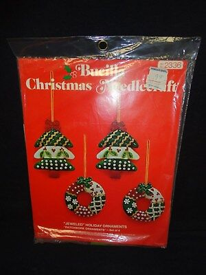 "Vintage Bucilla /""Koala Bears Ornaments/"" Christmas Needlepoint Kit"