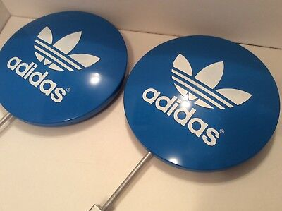 "Vintage ADIDAS Trefoil Lollipop Round Sign Store Display Original 11"" RARE NEW"