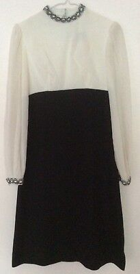 vintage 60s 70s black & white long semisheer balloon sleeve silver trim dress 8