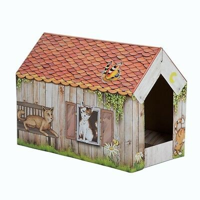 Cat Cardboard Bed Den House Sleep Home with Scratching Pad