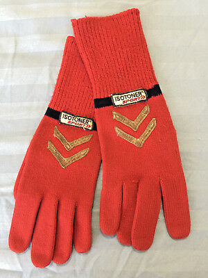Vintage Isotoner Sport Women's Knit Gloves Long Red w/ Leather Accent Driving OS