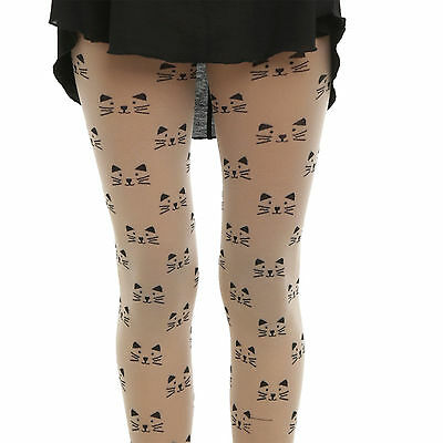 Hot Topic Black Heart Fashion All Over Woven Cat Face Nude Tights In Sm  Ml New