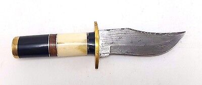 "Custom Hand Made Damascus Steel Hunting Knife 9.5"" Wood & Bone Handle w/ Sheath"