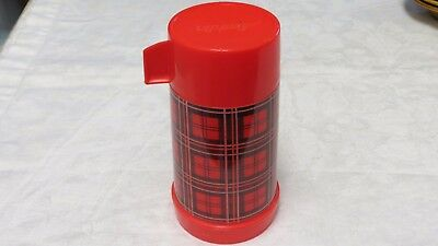 Vintage Aladdin Glass lined Thermos Bottle Red and Black Plaid Insulated Bottle