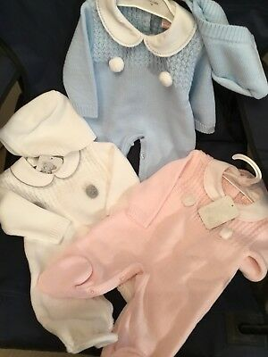 Spanish Baby Girls Boys Knitted Romper Set 2 Piece & Hat Pink Blue White Newborn