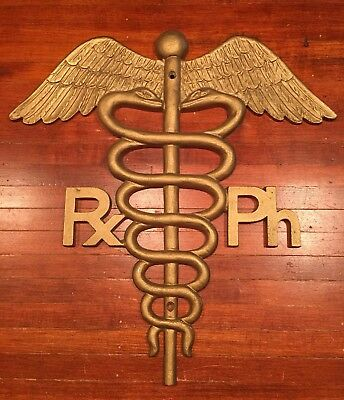 RARE Vintage Medical Asclepius Cadeceus Pharmacy Rph Sign! A must see! LOOK!!!!