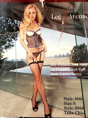 Nwt Leg Avenue Women's 2-Piece Fishnet And Lace Corselet Size S