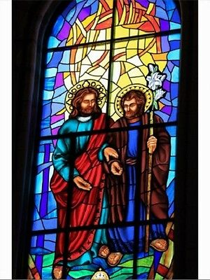 """~Post Card~""""Jesus Christ & The Shepherd"""" /Stained Glass/ (C21)"""