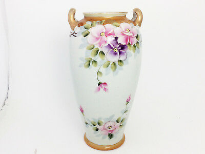 "Antique Hand Painted Nippon Handled 9 1/2"" Vase Floral Design Gold Accents"