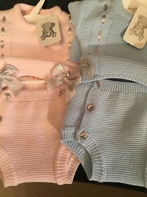 Baby Girls Boys Spanish Knitted Romper Chunky Blue Pink 0-3 3-6 6-12 12- 18Mth