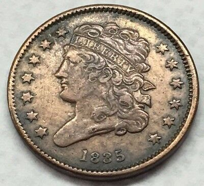 Beautiful Old 1835 U.s. Half Cent Cent Classic Head Coin * Free Ship