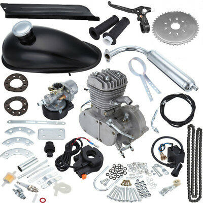 80cc Motorised Bicycle Push Bike 2 Stroke DIY Motor Engine Kit Petrol Silver